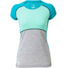 Mons Royale W's Bella Coola Tech Geo T-Shirt Aqua/Peppermint/Grey Marl